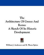 Cover of: The Architecture Of Greece And Rome