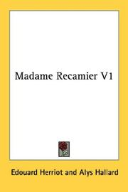 Cover of: Madame Recamier V1