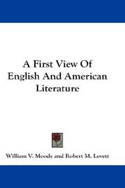 Cover of: A First View Of English And American Literature