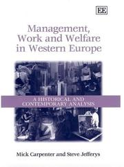 Cover of: Management, Work and Welfare in Western Europe