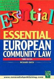 Cover of: European Community Law (Essential)