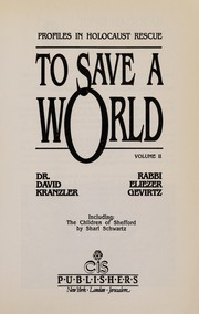 Cover of: To Save a World