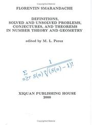 Cover of: Definitions, Solved and Unsolved Problems, Conjectures, and Theorems in Number Theory and Geometry