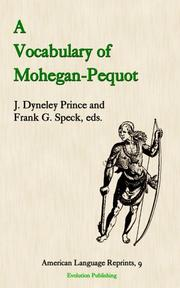Cover of: A Vocabulary of Mohegan-pequot (American Language Reprints)