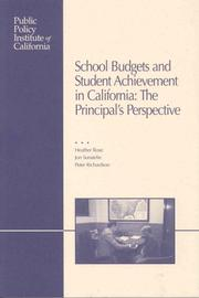 Cover of: School Budgets and Student Achievement in California