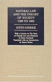 Cover of: Natural Law and the Theory of Society, 1500 to 1800