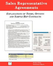 Cover of: Sales Representative Agreements, Explanations of Terms, Options and Sample Rep Contracts