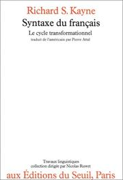 Cover of: Syntaxe du français
