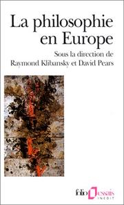 Cover of: La Philosophie en Europe