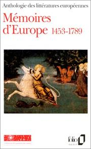 Cover of: Mémoires d'Europe 1453-1789