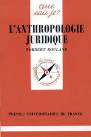 Cover of: L'Anthropologie juridique