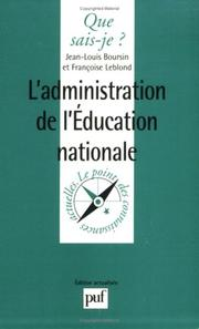 Cover of: L'Administration de l'éducation nationale