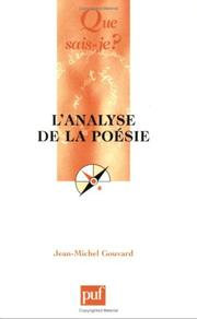 Cover of: L'analyse de la poésie