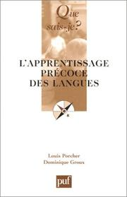 Cover of: L'Apprentissage précoce des langues