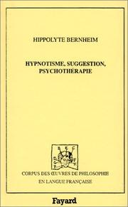 Cover of: Hypnotisme, suggestion, psychothérapie