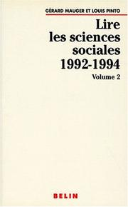 Cover of: Lire les sciences sociales, 1992-1994, volume 2