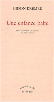 Cover of: Une enfance balte
