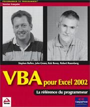 Cover of: VBA pour Excel 2002