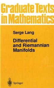 Cover of: Differential and Riemannian manifolds