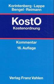 Cover of: Kostenordnung ( KostO).