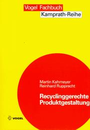 Cover of: Recyclinggerechte Produktgestaltung.