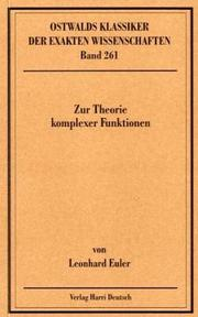 Cover of: Zur Theorie komplexer Funktionen. ( 1768-1783).