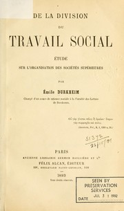 Cover of: De la division du travail social
