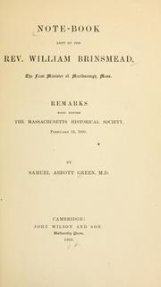 Cover of: Note-book kept by the Rev. William Brinsmead