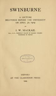 Cover of: Swinburne, a lecture