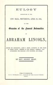 Cover of: Eulogy pronounced in the City Hall, Providence, April 19, 1865