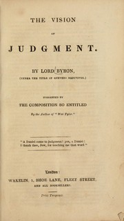 "Cover of: The vision of judgement: suggested by the composition so entitled, by the author of ""Wat Tyler"""