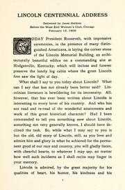 Cover of: Lincoln centennial address