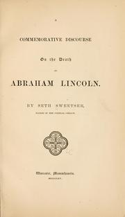 Cover of: A commemorative discourse on the death of Abraham Lincoln
