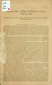 Cover of: Reply of Hon. William D. Kelley to George Northrop, Esq
