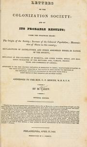 Cover of: Letters on the colonization society