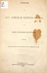 Cover of: Speech of Hon. Jeremiah Clemens ..