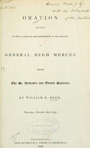 Cover of: Oration delivered on the occasion of the reinterment of the remains of General Hugh Mercer