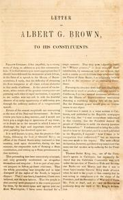 Cover of: Letter of Albert G. Brown, to his constituents