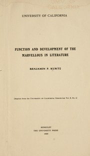 Cover of: Function and development of the marvellous in literature