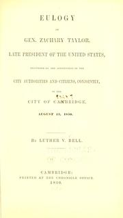 Cover of: Eulogy of Gen. Zachary Taylor, late president of the United States