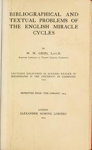 Cover of: Bibliographical and textual problems of the English miracle cycles