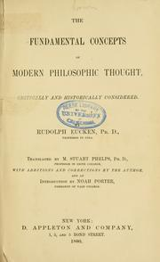 Cover of: The fundamental concepts of modern philosophic thought critically and historically considered