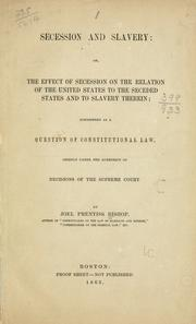 Cover of: Secession and slavery
