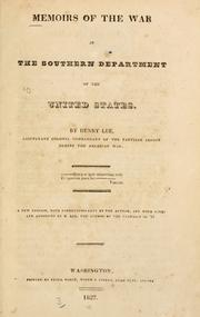Cover of: Memoirs of the war in the southern department of the United States