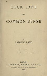 Cover of: Cock Lane and common-sense