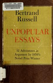Cover of: Unpopular essays
