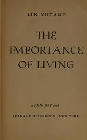 Cover of: The importance of living