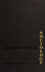 Cover of: Agricultural sociology