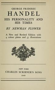 Cover of: George Frideric Handel, his personality and his times