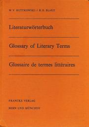 Cover of: Glossary of literary terms in English, German and French: with Greek and Latin Derivations of terms for the student of general and comparative literature